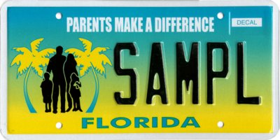 "picture of a sample ""parents make a difference"" Florida license plate"