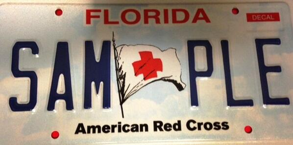 old sample Red Cross Florida license plate