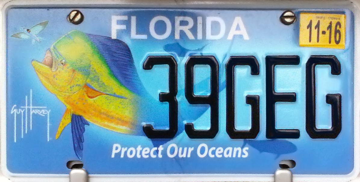"""Guy Harvey """"Protect Our Oceans"""" vehicle-registration plate"""