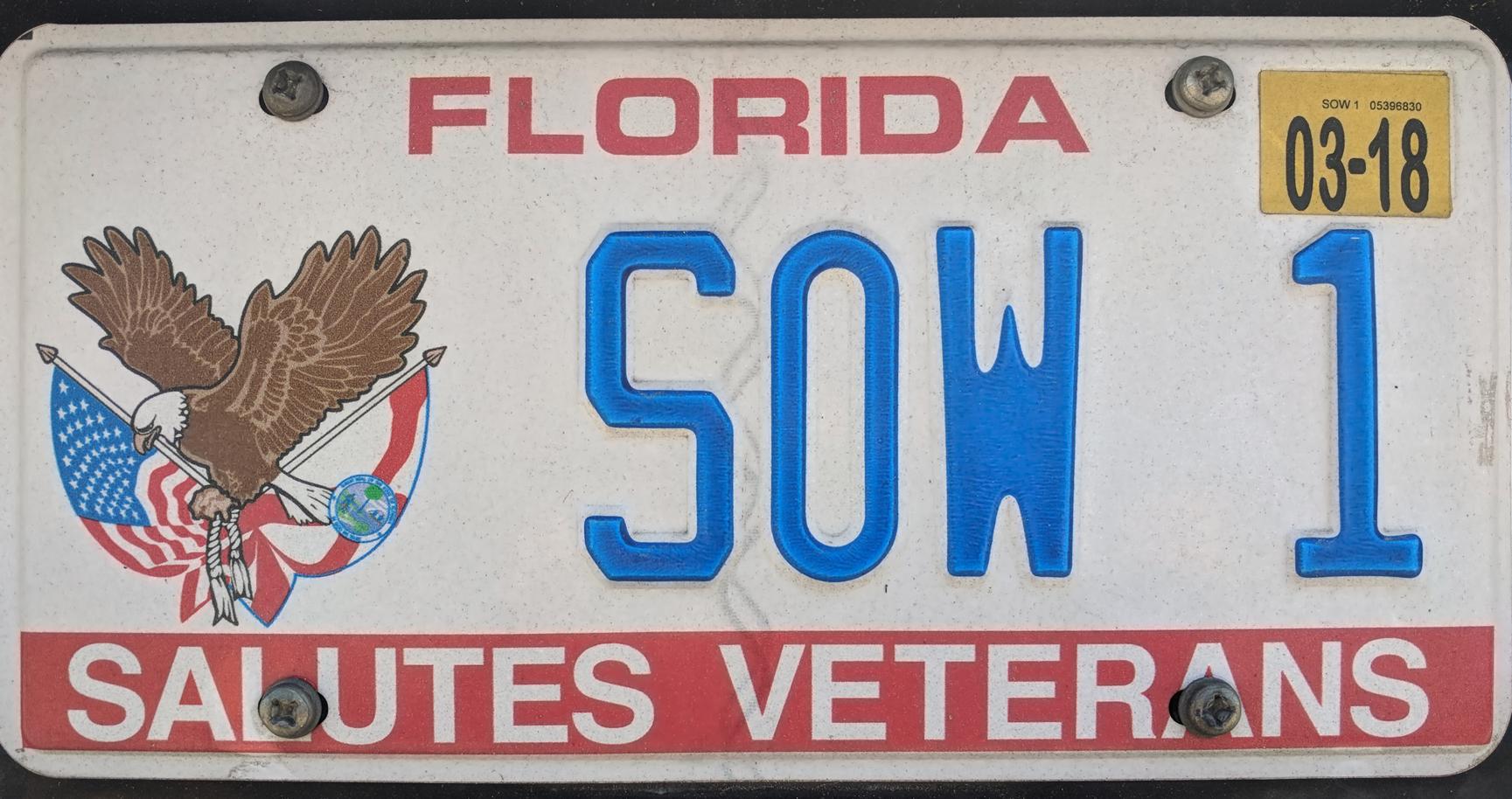 Florida salutes veterans Florida vehicle-registration plate