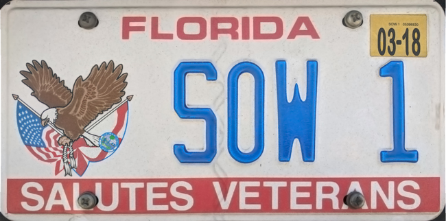 photograph of a Florida salutes veterans vehicle-registration plate
