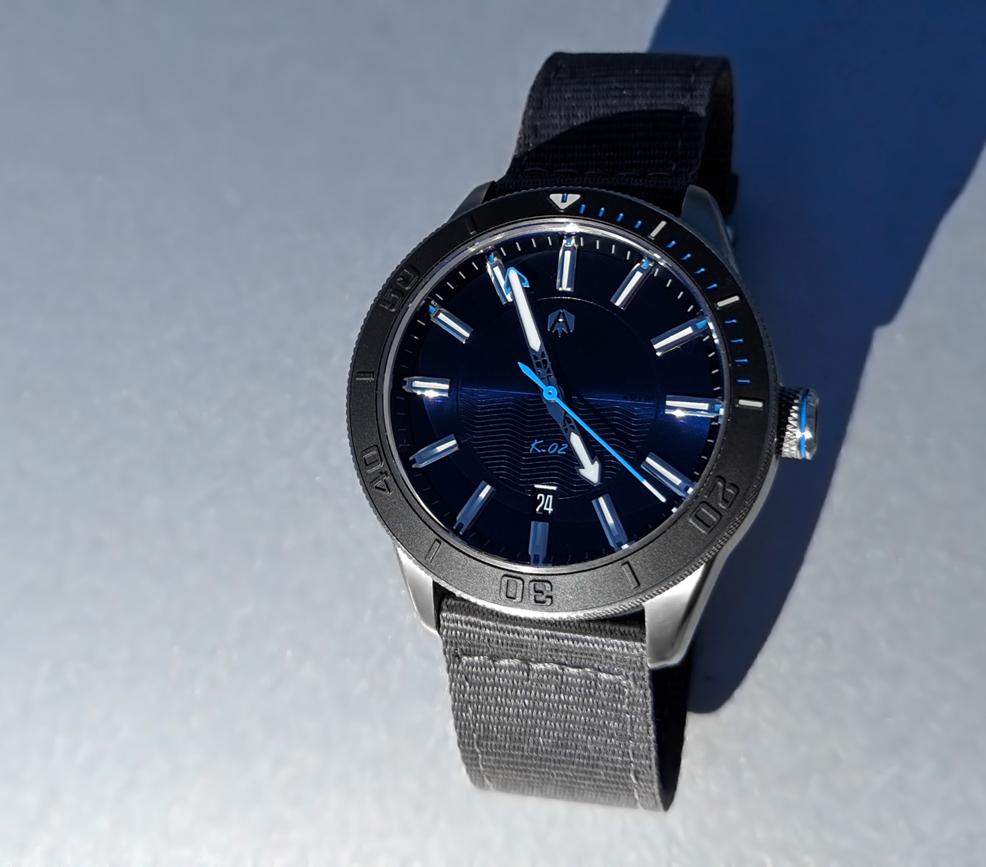 Akrone K-02 Bleu Rorqual French diving wristwatch