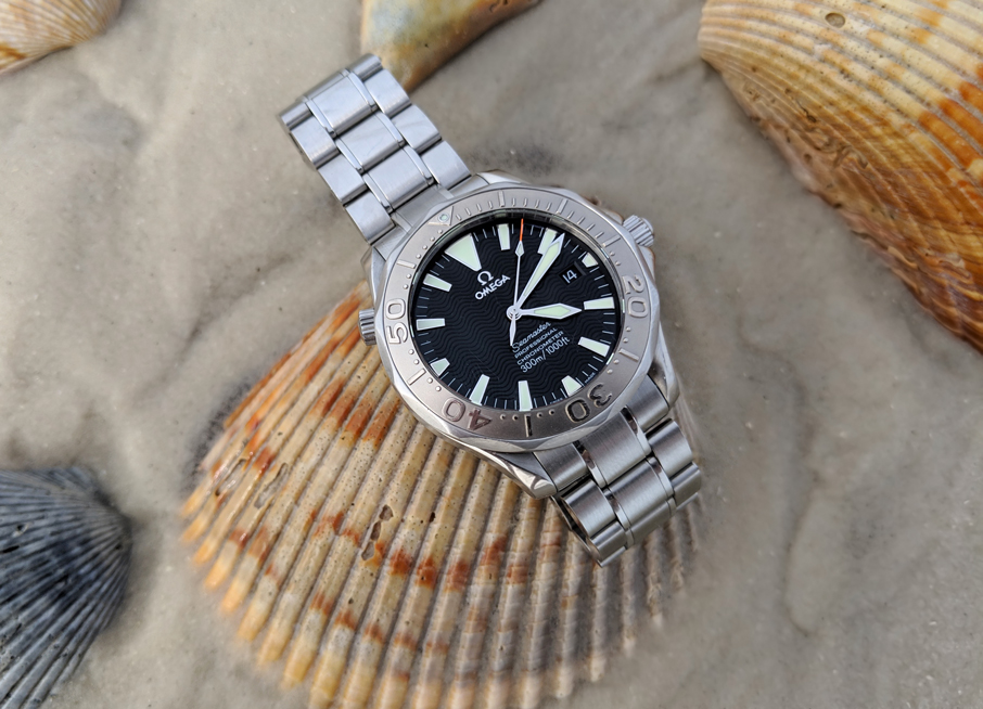 Omega Seamaster 2230.50 wristwatch on beach