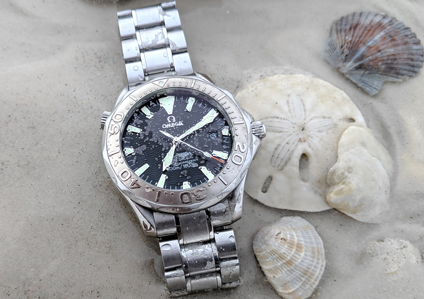 Omega Seamaster 2230.50 wristwatch on a Florida beach