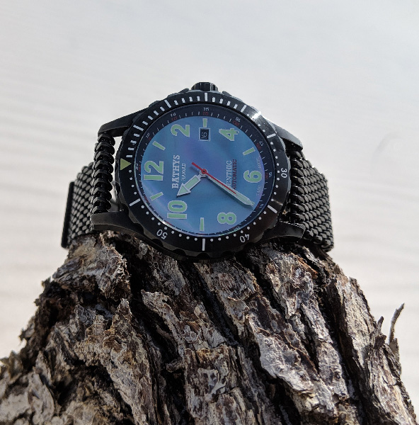 Bathys Benthic TiCN black wristwatch has mother-of-pearl face