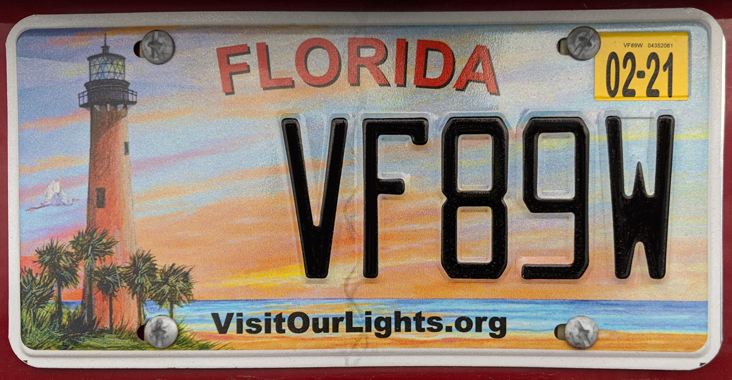Florida Visit Our Lights vehicle registration plate